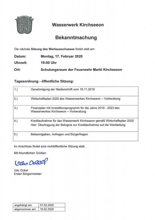 Tagesordnung Werekausschuss 07.02.2020