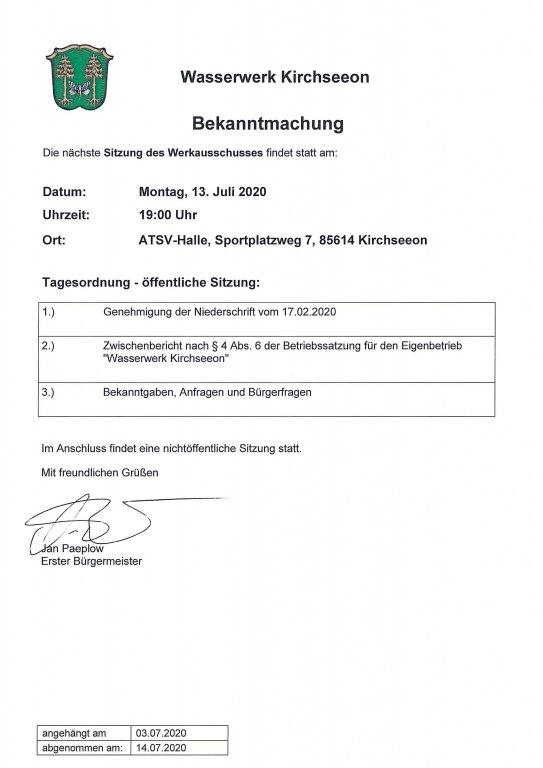 Tagesordnung Werkausschuss 13.07.2020