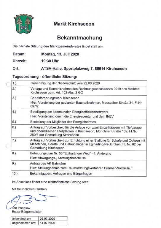 Tagesordnung MGR 13.07.2020