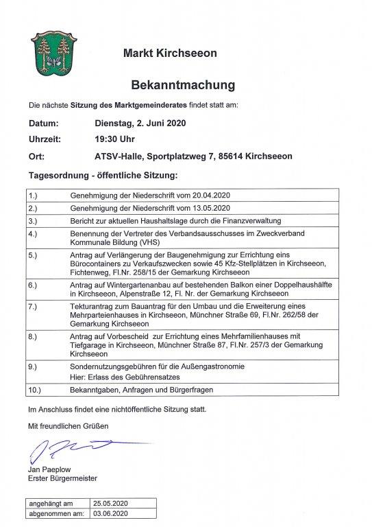 Tagesordnung MGR 02.06.2020