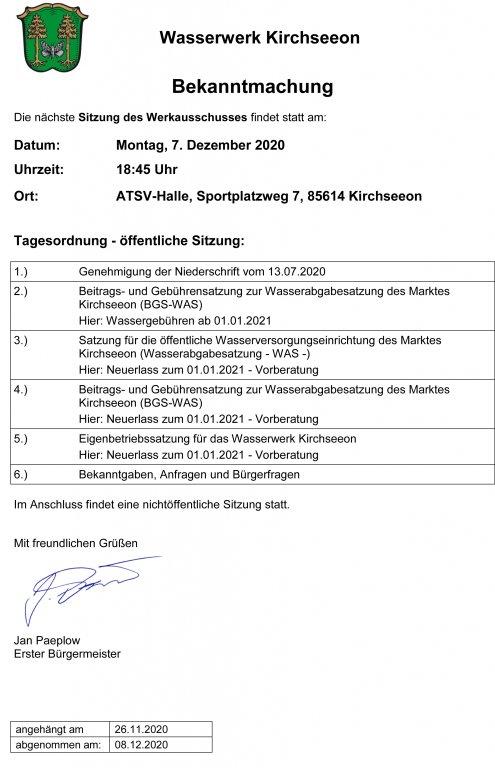Tagesordnung Werkausschuss 07.12.
