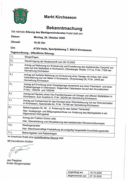 Tagesordnung MGR 26.10.2020
